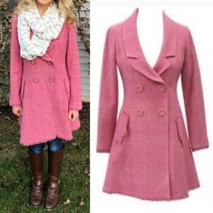 Cabi Madison Avenue Pink Tweed Vintage Coat